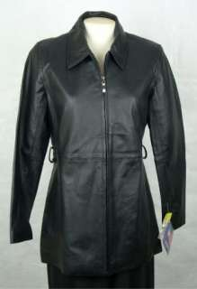 NWT U.S.A. LEATHER Womens Ladies Black LEATHER Coat Jacket size S