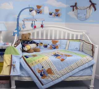 Rock n Roll Teddy Bear Baby Crib Nursery Bedding Set 13 pcs included