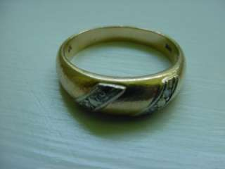 Vintage 14k Solid Yellow Gold Mens Diamond Ring / Band
