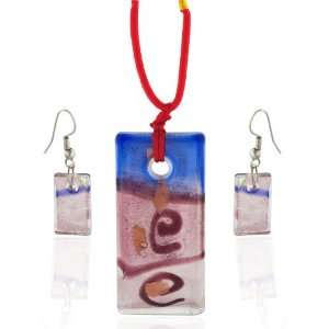 Rectangle Earrings Pendant Murano Glass Jewelry Set Pugster Jewelry