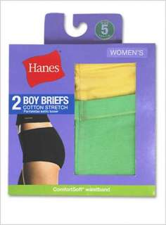 HANES Womens Cotton Stretch Boy Briefs   2 Pairs   D49EAS