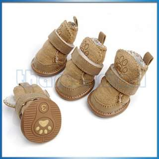 Tan Cozy Pet Dog Warm Walking Shoes Boots Apparel #3