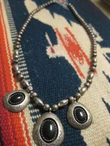 VTG Navajo Early Teddy Goodluck Sterling Bead Necklace Onyx Pendant 20