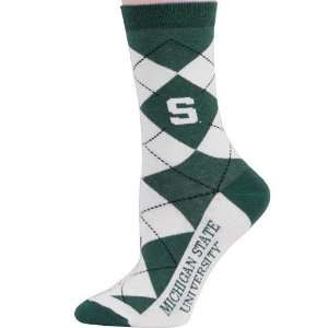 NCAA Michigan State Spartans Ladies White Green Argyle