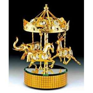 CAROUSEL 24K Gold Swarovski Crystal Music Box Figure