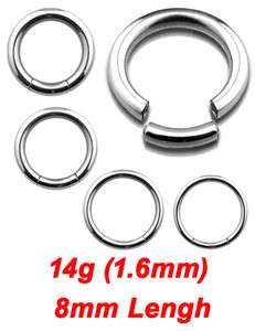 6mm) x 8mm 316L Surgical Steel Seemless Segment Lip Rings Hoop