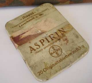 WWII ORIGINAL GERMAN MEDICAL TIN BOX – BAYER ASPIRIN