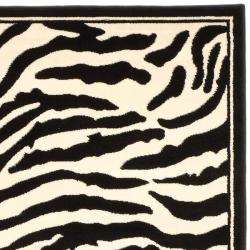 Lyndhurst Collection Zebra Black/ White Rug (9 x 12)