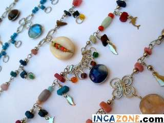 LOT OF 10 ANKLETS WITH MURANO GLASSES PERUVIAN ALPACA JEWELRY Free USA