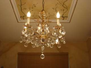 GREAT ANTIQUE BRASS BRONZE & CRYSTAL TULIP CHANDELIER