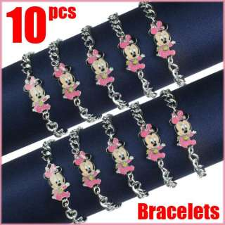 Lot 10pcs Disney Baby Minnie Mouse Bracelets Baby Shower Birthday