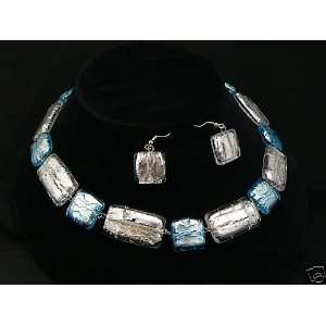 Italian Murano Glass Necklace Earrings Jewelry Set, silver
