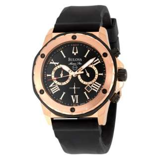 Bulova Marine Star Chronograph Rose Gold Tone Rubber Mens Watch 98B104