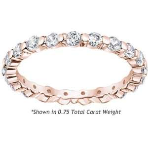 Womens Diamond Eternity Ring Single Prong Setting Round