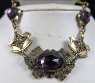 Deco Nouveau Amethyst Glass Necklace Bracelet Earrings Demi Set