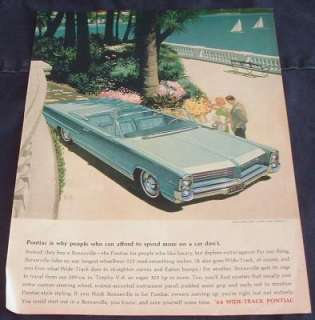 1964 PONTIAC BONNEVILLE FLORIDA KEYS MAGAZINE AD CD