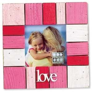 Shabby Hot Pink Wood Block Square Picture Frame 4x4