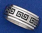 Spinning Stainless Steel Ring Greek Key Size 7 15