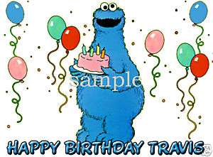 COOKIE MONSTER Edible Birthday CAKE Image Icing Topper