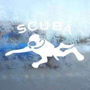 Scuba Diver White Decal Car Laptop Window Vinyl White