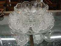 Complete Heisey Punch Bowl Set with 14 Cups & Tray