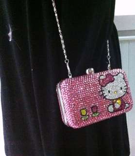 Crystal Pink Hello Kitty Clutch handbag Wallet bling both sides Gem