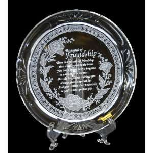 ETCHED CRYSTAL GLASS FRIENDSHIP PLATE WITH EASEL STAND
