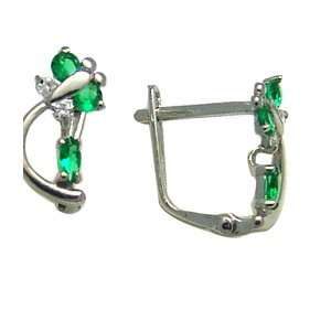 Emerald Green   Spring Time Butterfly 14k White Gold Huggie Earrings