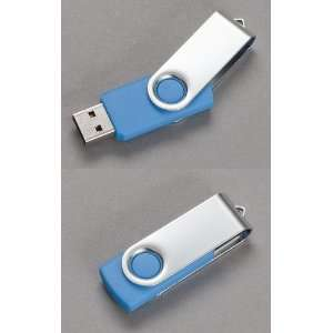 Premium Metal/Blue Swivel USB Flash Memory Drive 16 GB