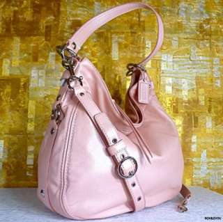 LARGE RARE PINK PEARL SHIMMER SOFT LEATHER ZOE HOBO BAG PURSE