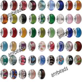 100pc Silver Murano Glass Beads Jewelry Making #PE100 1