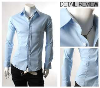Mens Casual Slim Fit Dress Shirts Size XS S M 4 color C66