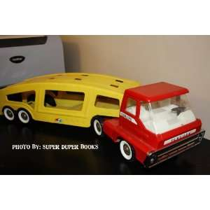 Red and Yellow Car Carrier Semi Truck Cab and Trailer
