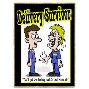 Funny New Dad Delivery Survivor Baby Gift Refrigerator