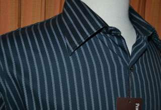PERRY ELLIS LONG SLEEVE BLACK GRAY COTTON MODERN CASUAL STRIPE SHIRT