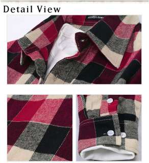 Mens Casual Stylish Slim Fit Plaid Check Shirts Long Sleeve