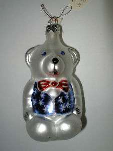 Christmas Ornament Teddy Bear Made in Poland Glass New