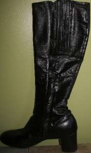 SELBY Fifth Ave Black Leather VINTAGE Knee Boots 6.5