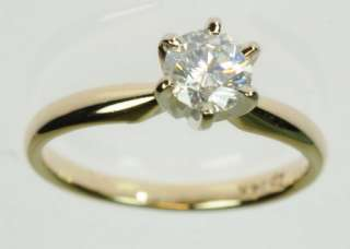 LADIES 14K YELLOW GOLD SOLITAIRE DIAMOND ESTATE RING 149583