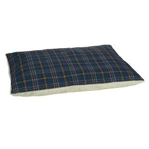 Zack & Zoey Plaid Pillow Dog Bed w/ Berber Top Blue LG