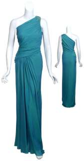 TADASHI SHOJI Iridescent Teal Silk Chiffon Beaded Evening Gown Dress