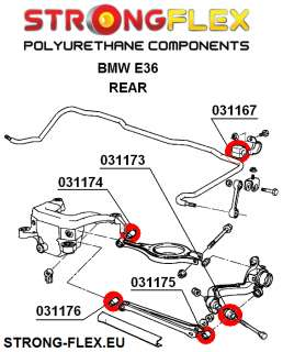 BMW E36 REAR Suspension Bush Kit Polyurethane 90ShA