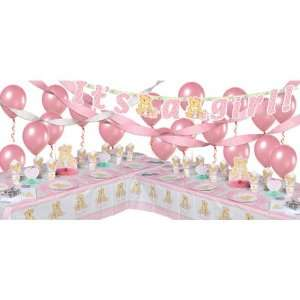 Pink Precious Bear Baby Shower Party Supplies Deluxe Party
