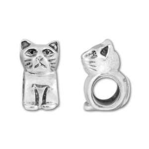 Antique Sterling Silver Cat Bead Arts, Crafts & Sewing
