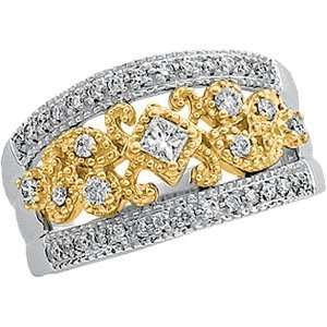 14K Two Tone Gold Diamond Band Ring DivaDiamonds Jewelry