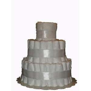 3 Tier Plain White Diaper Cake