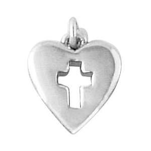 Bob Siemon Sterling Silver Heart and Cross Charm Jewelry