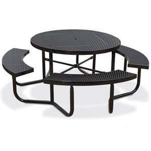 Eagle One Portable Round Expanded Metal Table with 4 Seats