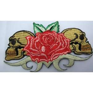 DUAL SKULL ROSES TRIBAL PUNK EMO ROCKABILLY TATTOO IRON ON