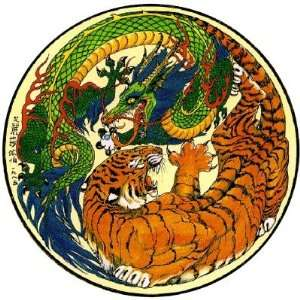 Tiger Dragon Yin Yang Round Sticker
